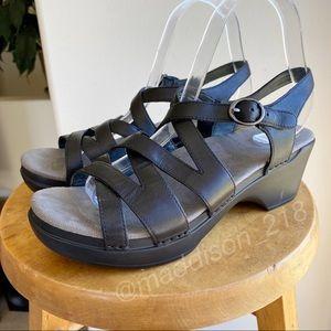 DANSKO Stevie Leather Strappy Sandals Black 39